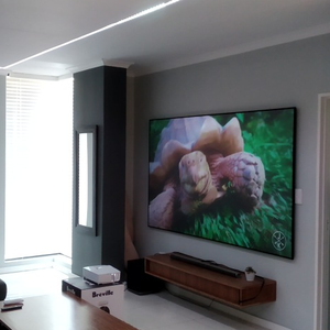 100inch high quality 4K HD best sell black PET Crystal UST ALR zero edge fixed frame Projection Screen