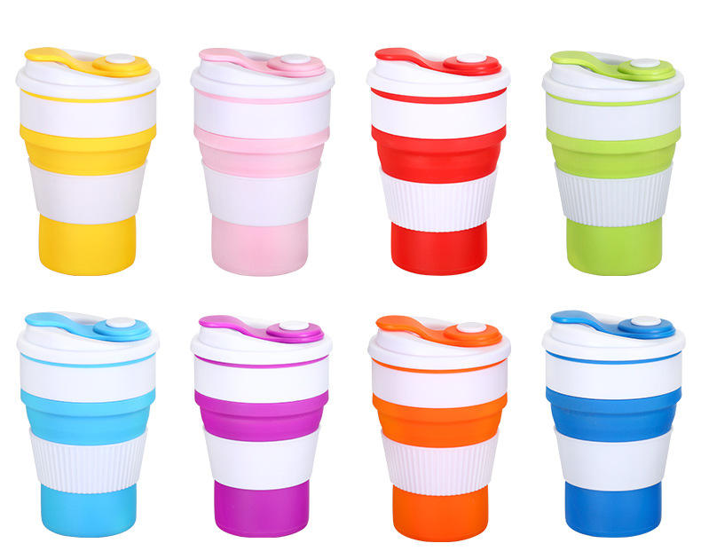 Portable 400 ML Travel Drinking Coffee Cup Retractable Folding Silicone Collapsible Coffee Cup