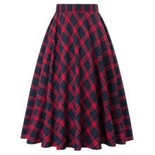 KK000633 Occident Women Fashion Grid Pattern Plaid Cotton A-Line Skirt