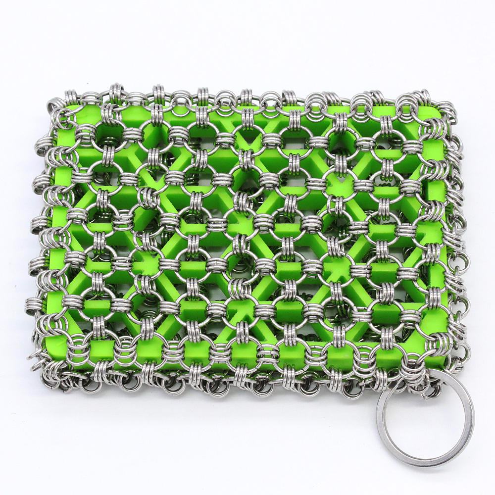 Cast Iron Skillet Cleaner,316 Stainless Steel Chainmail Cleaning Scrubber,Built-in Silicone Scrubber for Kitchen Cookware BBQ