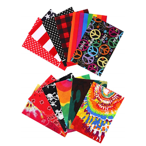 Custom logo print cotton fabric tie dye bandanas Headwraps for party and event