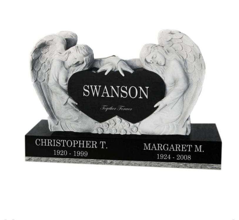 Wholesale Europe America Popular Customizing Heart Tombstone Design Angel Cemetery Headstones Monuments
