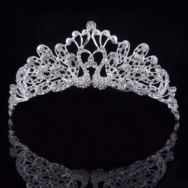 Couple Peacock Crown and Tiara Headpieces With Rhinestone for Bridal Wedding Accessories