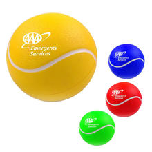 Gift custom creative design brand logo sport training bounce reliever squeeze anti stress soft foam PU toys tennis squeeze ball