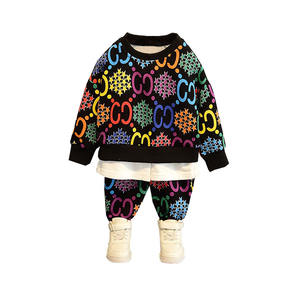winter Cotton Knit kids clothing Sweater suit sets hot sales casual wear boys outfits printed cotton children's clothing sets