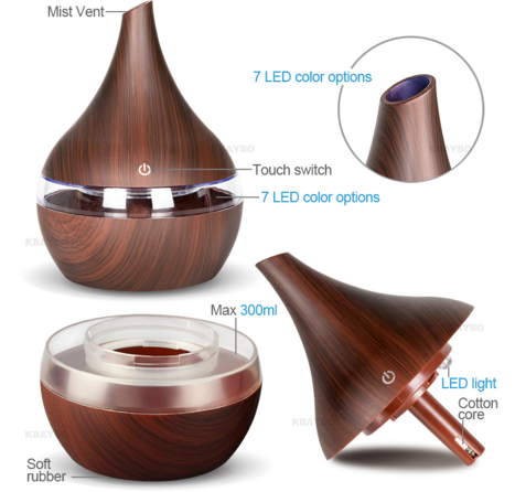 Wood [ Electric Air Humidifier ] 300ml USB Electric Aroma Air Diffuser Wood Ultrasonic Air Humidifier Essential Oil Aromatherapy Air Humidifier