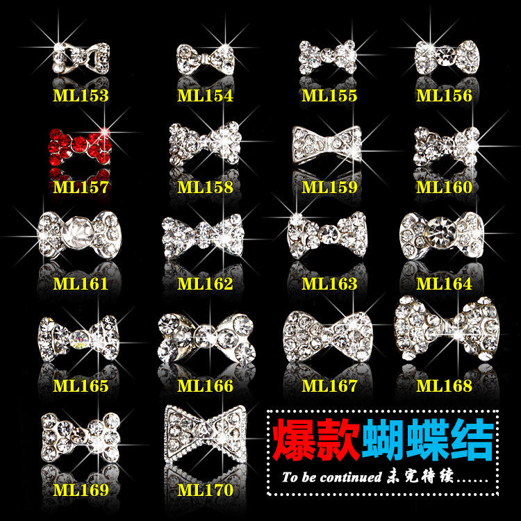 Japanese Style Artificial 3D Decoration nail crystals rhinestones Clear White Nail Art Bow nail decoration rhinestones