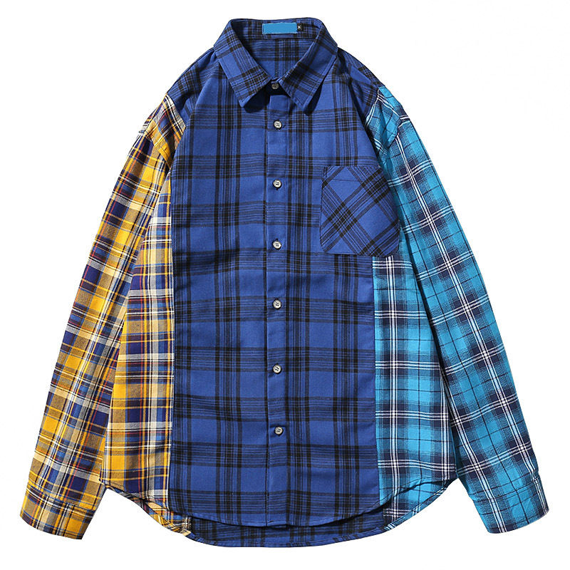 OHMYJUST factory outlet New Men Custom Streetwear contrast color sweatshirt cotton plaid flannel shirts