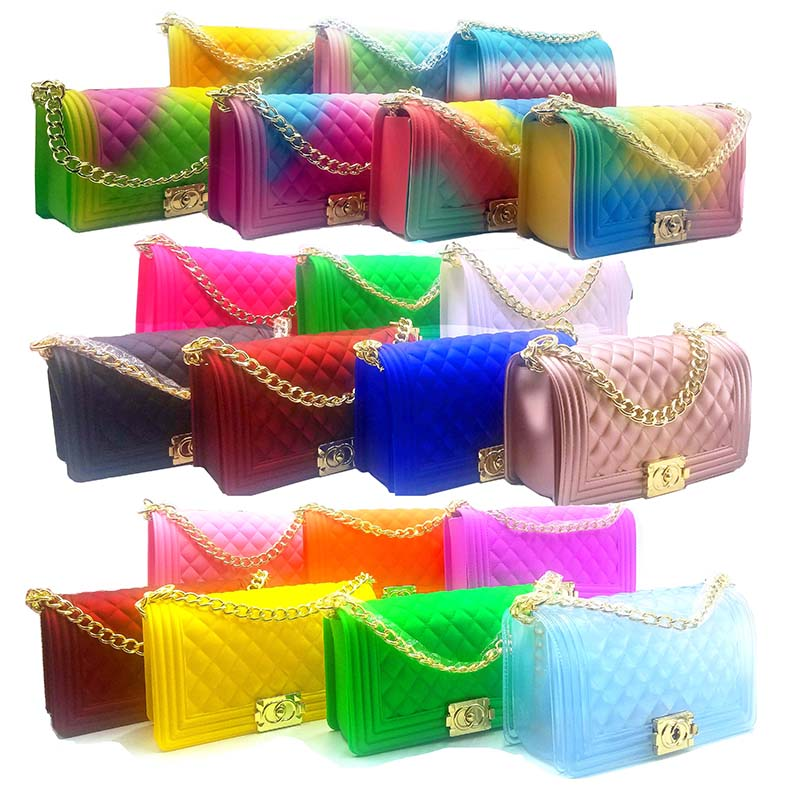 Hot selling fashion designer handbags purses rainbow transparent shoulder crossbody PVC small jelly bag
