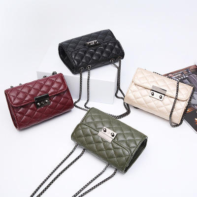 2020 Korean Luxury women's handbag Single Shoulder woman bag hot-sell messenger diamond lattice lady bag with button for girl