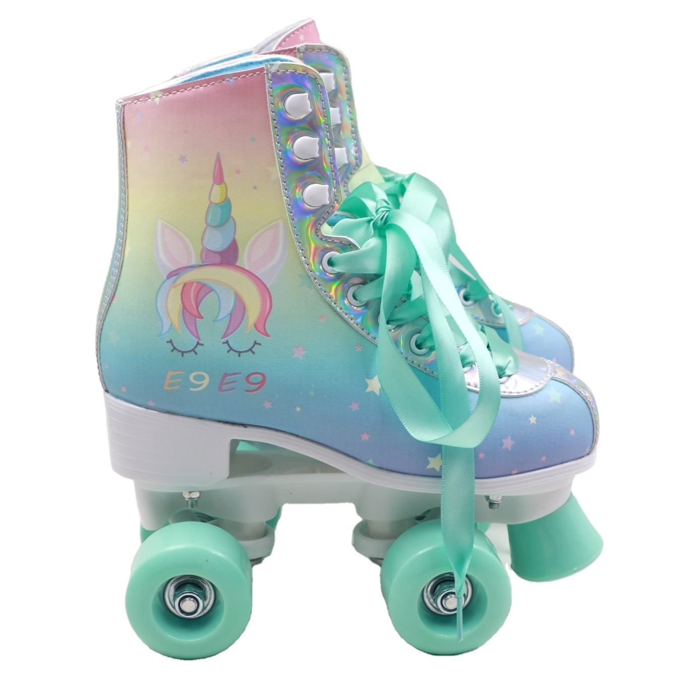Factory wholesale cheap machine print pattern JR-708 quad kids skate double pvc wheel roller skate shoes