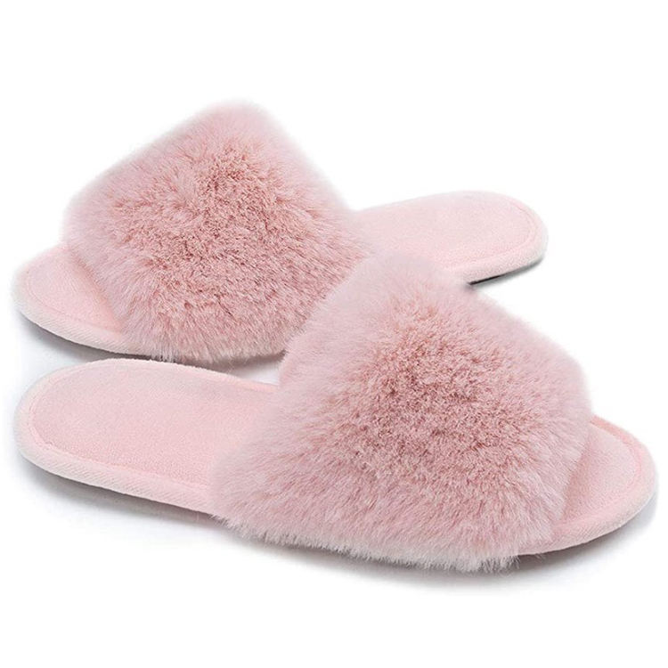 Women's Slip on Non Slip Rubber Sole Black Pink Gray Open Toe Bedroom Indoor Memory Foam House Fur Slides Slippers