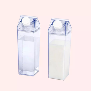 16OZ 500ML Clear Milk Cartons Creative Square Water Bottle Blank Milk Box AS Food Safe Plastic Cups For Wholesale