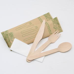 disposable compostable food grade wood utensils travel cutlery set 16cm wooden cutlery kit