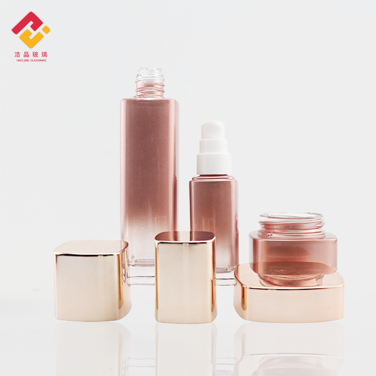 Hight quality cosmetic sets custom 50ml 120ml rose gold skin care oil lotion pump glass bottle for serum