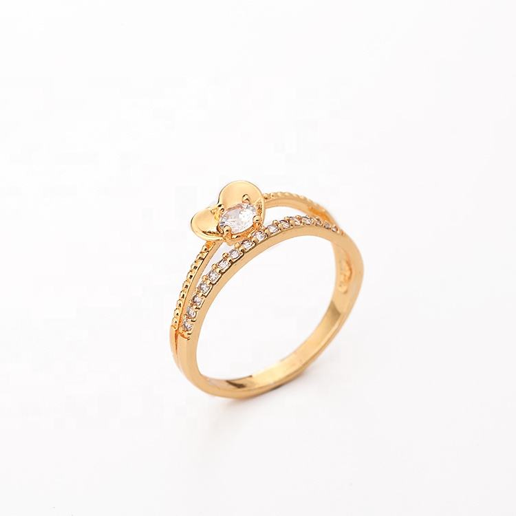 Yili jewelry 18K Gold Plated 2019 latest fine stone heart shape designs zircon Rings for women