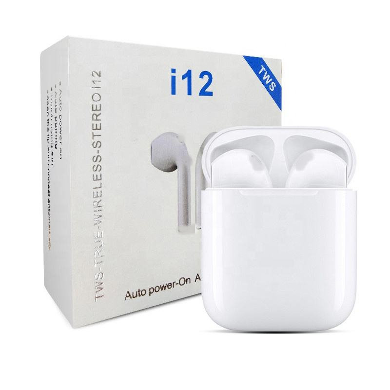 Bulk Bluetooth Cheap Wireless Tws Earbuds I12 Hifi Sport Bluetooth Earbuds Shell Wireless Headphone With Microphone Handfree