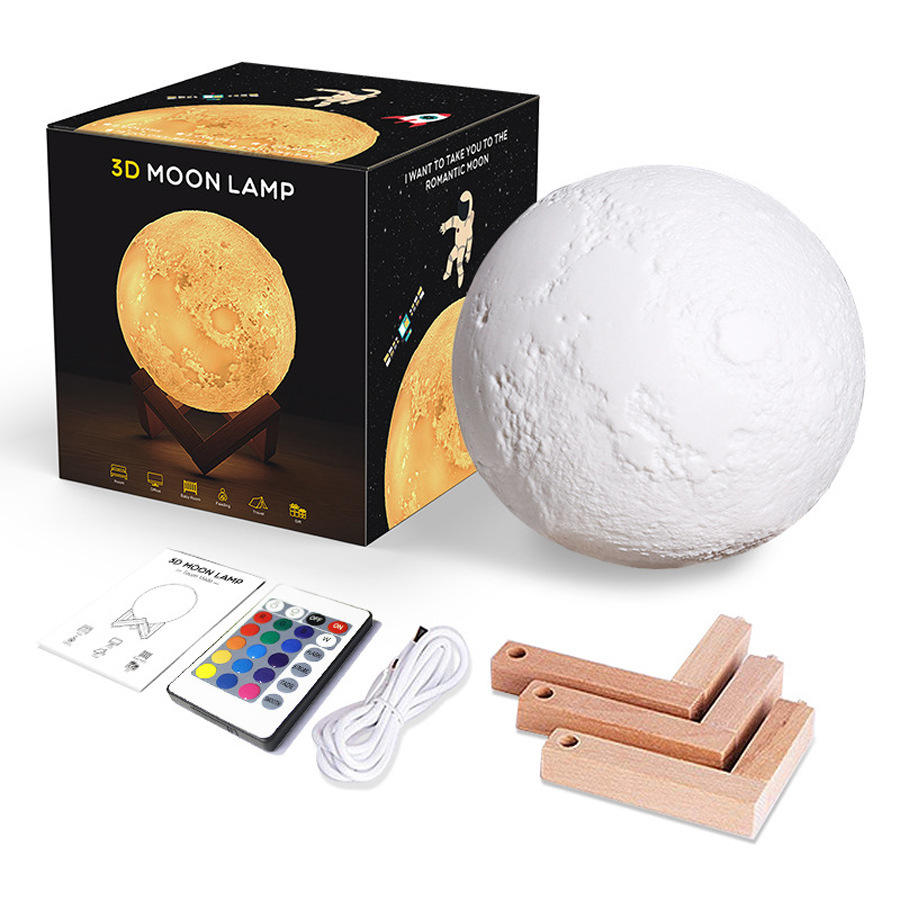 Decoration Rechargeable 16 Colors LED 3D Print Moon Lamp Light with Wood Base Stand & Remote &Touch Control Moon Light Lamps
