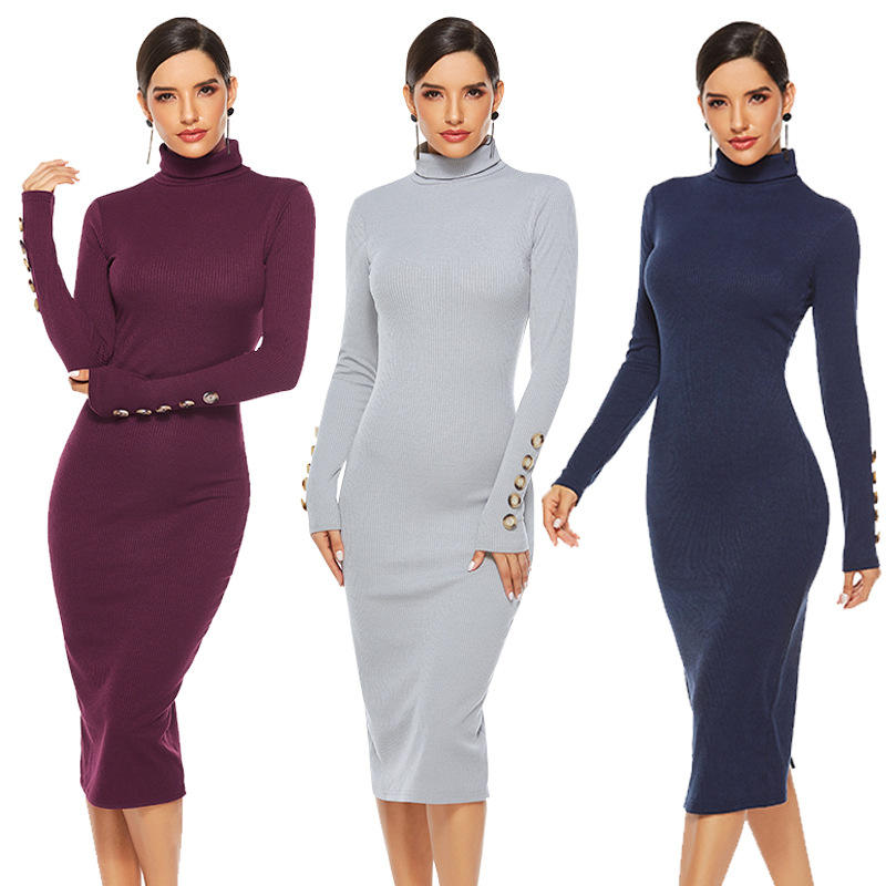 Latest Style Turtleneck Warm Long Sleeve Casual Fall Winter Women Sweater Dress