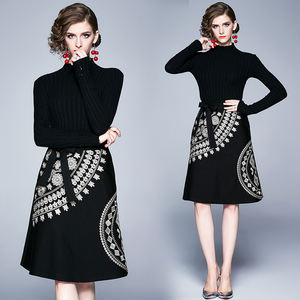 in stock 2020 new design Autumn winter high-end elegant black dress women's slim knitted embroidered stitching dress