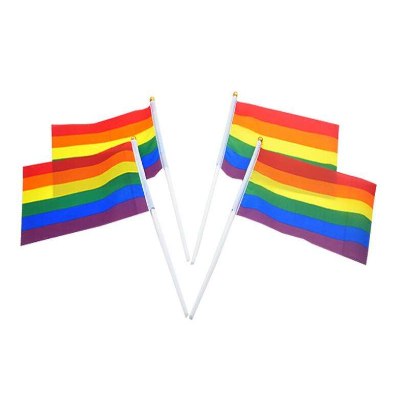 Stand [ Flag Garden ] Custom 2020 New Design Rainbow Flag Banner Garden Hand Car Desk Pole Stand Polyester Pride USA National Flag Fabric Wholesale