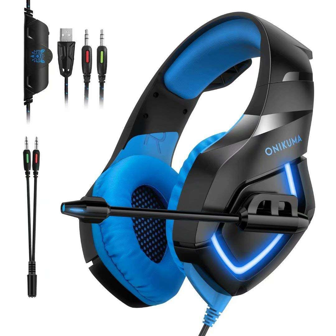 Blue Color Waterproof Stereo Bass Over Ear Fashion Wired Computer Gaming Headphone with Mic