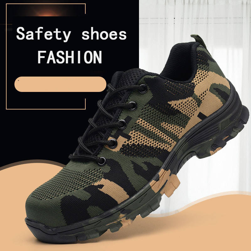 Light weight Breathable Safety Shoes for Men and Women Puncture Proof Work Construction Sneakers steel toe cap Camouflage