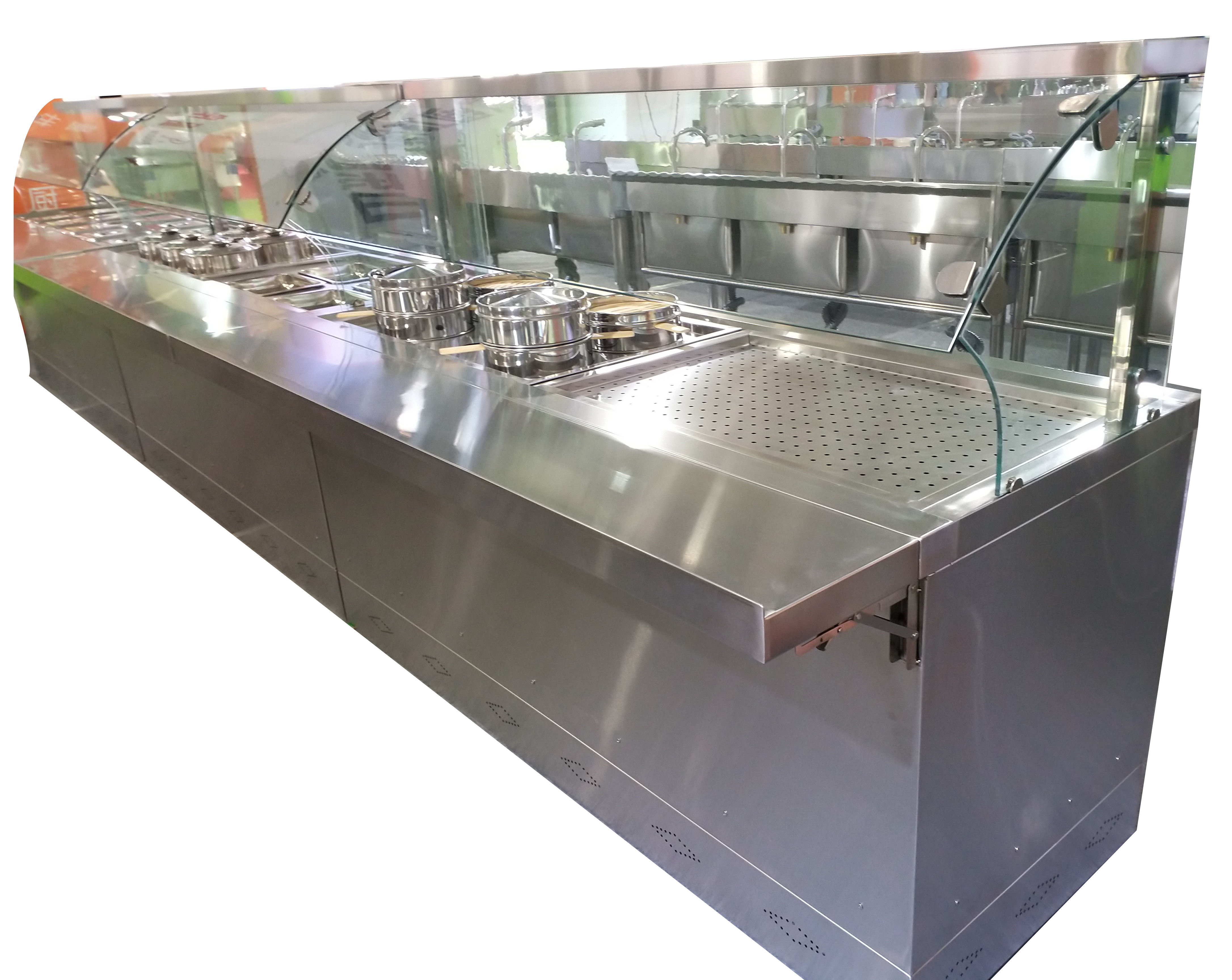 Stainless steel bain marie restaurant buffet food warmer counter with cabinet