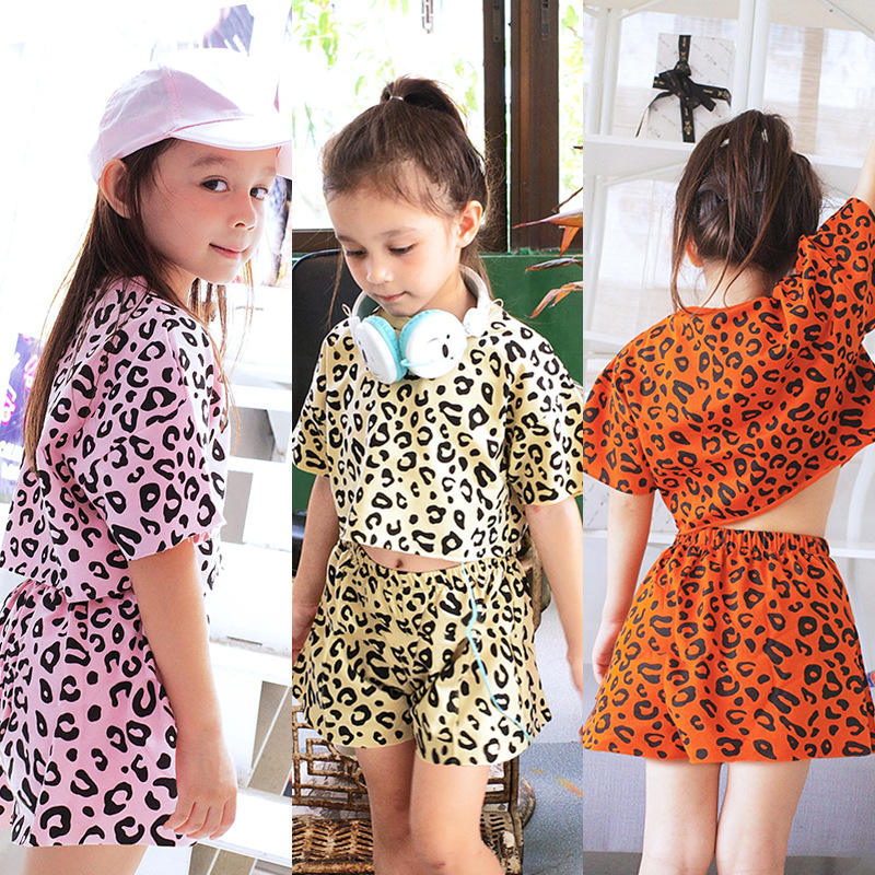 Baby Girls Summer Suit 2020 New Children's Short-Sleeved Shorts Pants Casual Clothes Kids Western Leopard Two-Piece Suit
