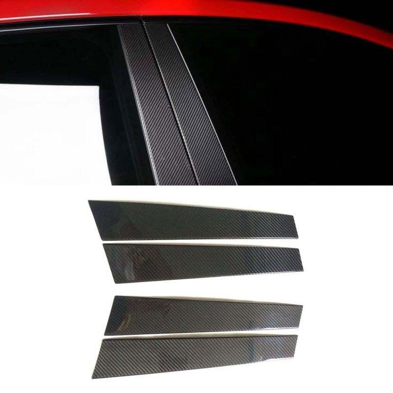 For 08~15 Mitsubishi Lancer Carbon Fiber Door Trim Posts Pillar Panel EVO X 6pcs
