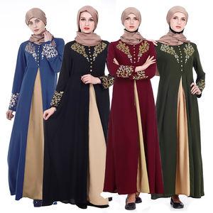 Zakiyyah Z180502 Islamic Clothing Turkish Abaya Kimono With Golden Printing Design Thickened Chiffon Black color In Dubai