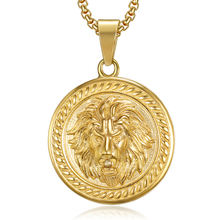 whosale coin pendant animal jewelry gold plated stainless steel lion round pendant for man chain