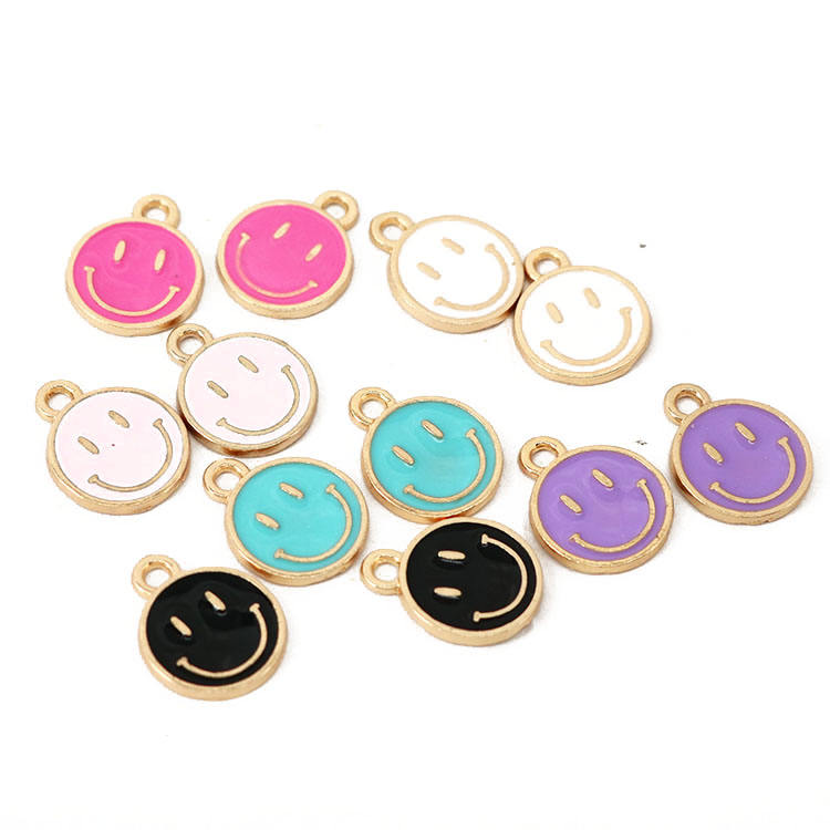 JS1532 Gold Plated Enamel Pastel Smile Smiley Face Charm Pendants for Bracelet Necklace Earring Making Supplies