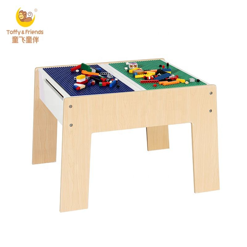 Toffy & Friends kids functional wooden lego bricks play table with storage space