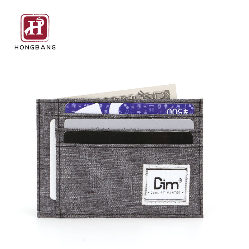 Eco-friendly canvas slim card holder wallet rfid blocking