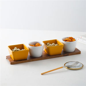 Hot sale entertainment restaurant banquet custom 4 piece small candy sugar snack serving bowls porcelain with wooden stand