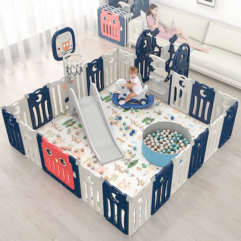 Hot selling custom indoor playyard luxury children cheap play yard kids portable foldable fence plastic baby safety playpen