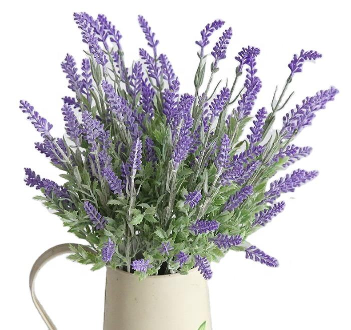 Hot Sale High Quality Home Decoration Plastic 7 bunches Normal Size Artificial Plants Flower Lavender