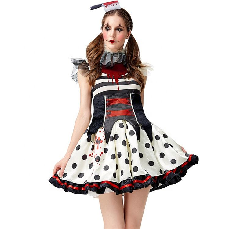 Robe de Performance <span class=keywords><strong>Clown</strong></span> Sexy, Costume de mascotte N207, Halloween Cosplay, déguisement idéal pour Halloween