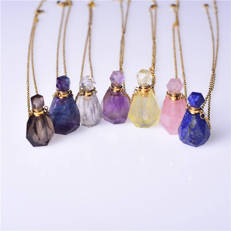 Natural High Quality Amethyst Perfume Essential Oil Bottles Rose Quartz Crystal perfume bottle