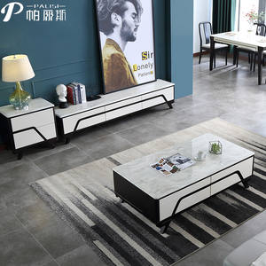 Modern Living Room Furniture Solid Wood Marble Top TV Cabinet Stand & Coffee Table Set Simple Nordic Design