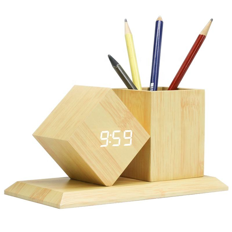 KH-WC010 Custom Stand Fancy Office Desktop Multi-function Gift Table Desk Wooden Pen Holder with Digital LED Alarm Clock
