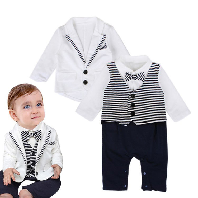Kid's Clothing Baby Wholesale Stripe Long Sleeve 100% Cotton Baby Romper 2 Pcs Newborn With Bow Tie