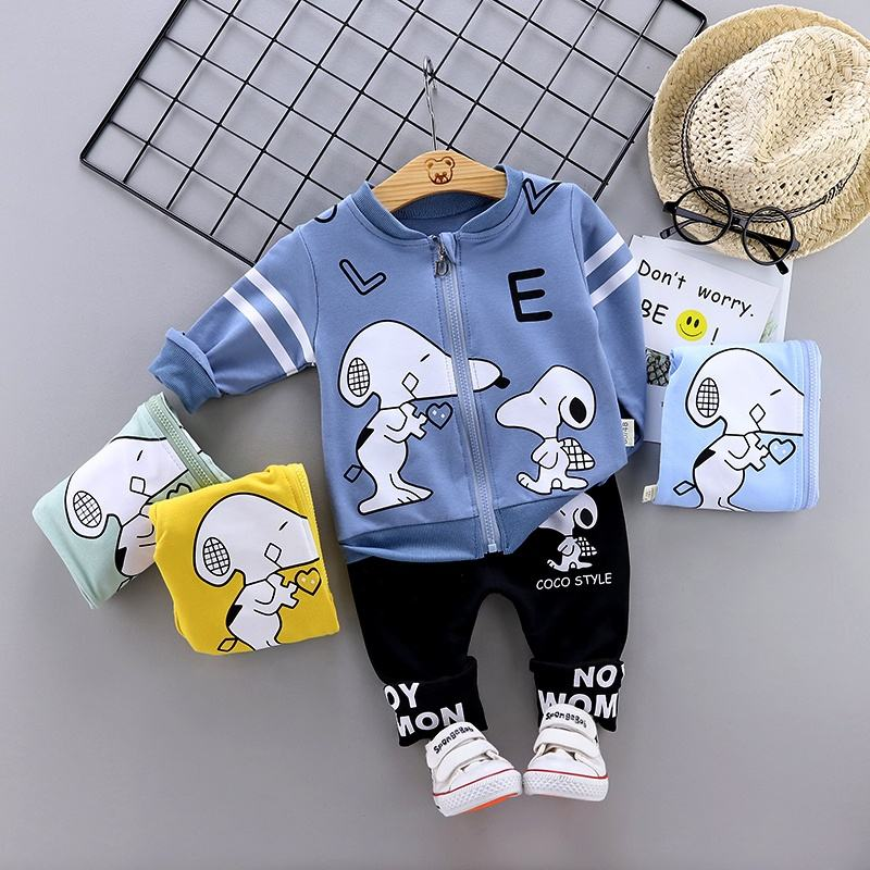 2020 Spring baby girl boy Snoopy long sleeve two piece set children clothes