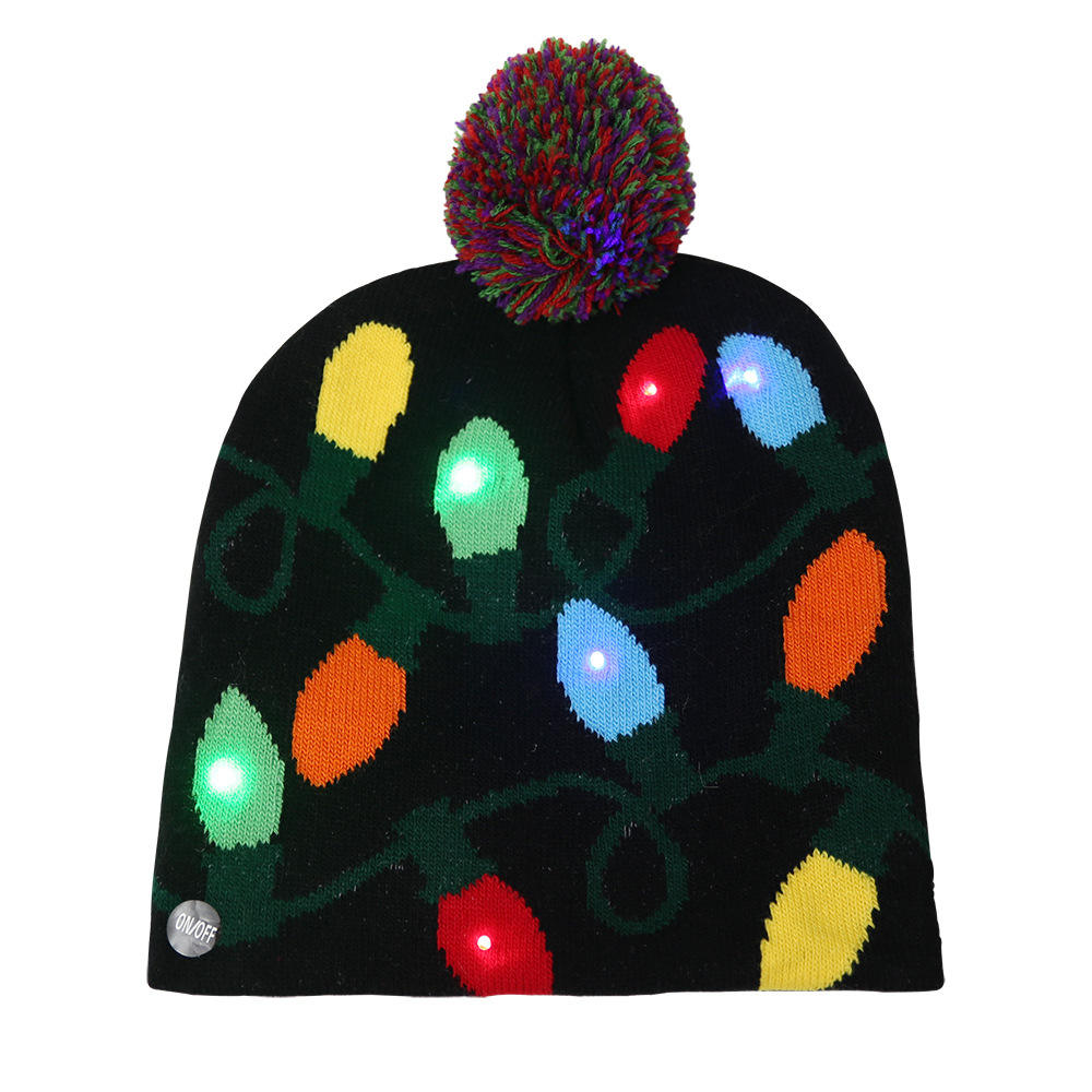 Wholesale Winter Cheap Warm Christmas Decorate Adult LED Lamp Christmas Knitted Hat