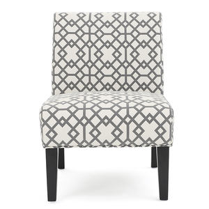 Contemporary Fabric Slipper Gray Geometric Pattern and Matte Black Accent Chair