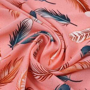Wholesale trendy in stock fancy color 30S*30S woven plain 100 viscose feather printed fabric textile