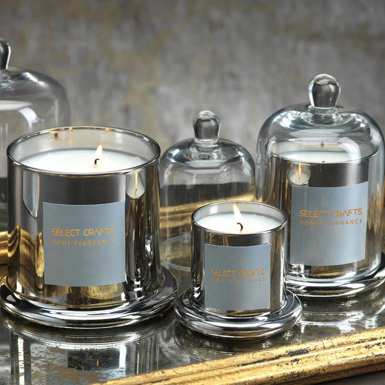 Wholesale Luxury Custom Domed Electroplating Glass Jar Soy Wax Scented Candle