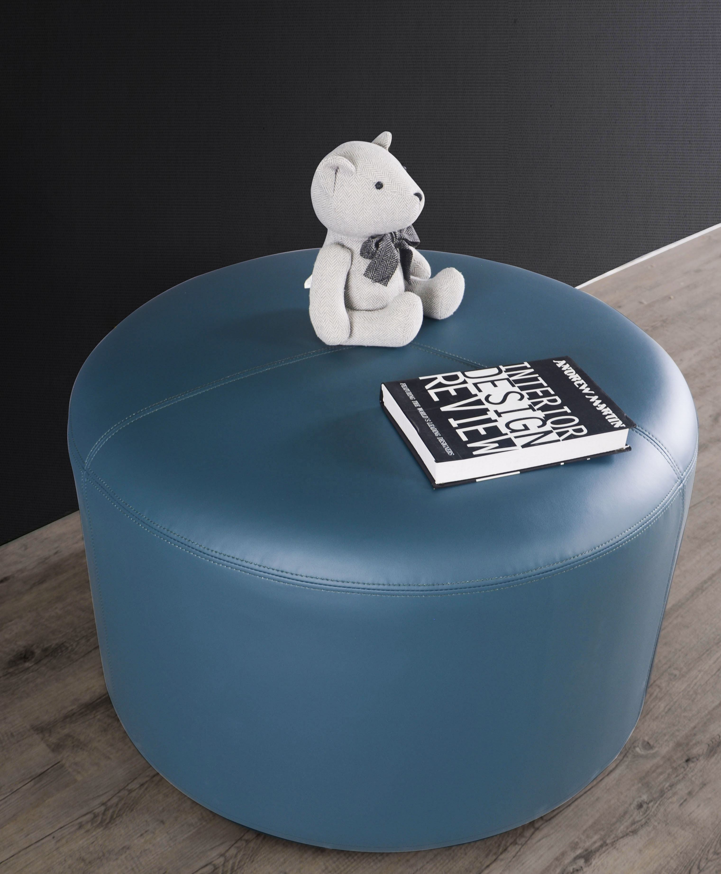 High Quality Leather Upholstered Round Footrest Living Room Blue Ottoman Stool