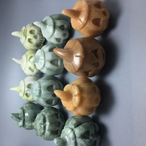 wholesale Best selling natural hand-carved Pale Brown Jade boutique pumpkin skulls head